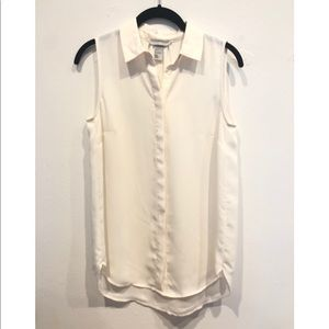 Off white button down sleeveless shirt